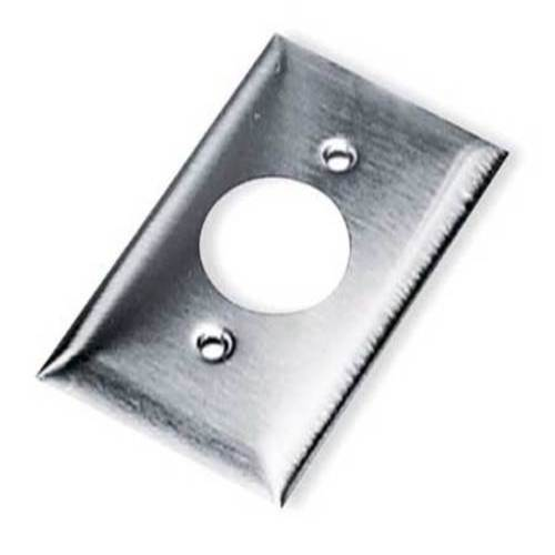 Single Receptacle Plate, 1 Gang, Silver