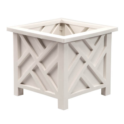 White Chippendale Planter