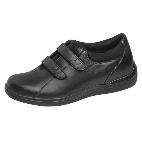 Drew  Lotus Womens Velcro Double Strap Shoe-Black-9M