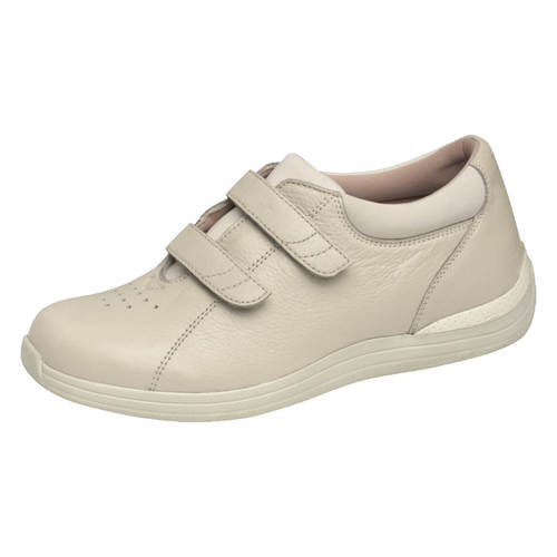 Drew  Lotus Womens Velcro Double Strap Shoe-Bone-7.5W