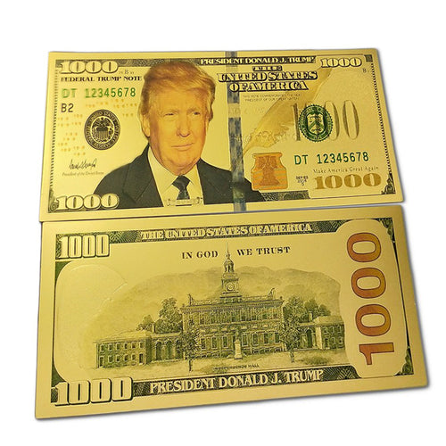 1000 USD Commemorative President Donald Trump Collectible Gold Plated Fake Bank Note