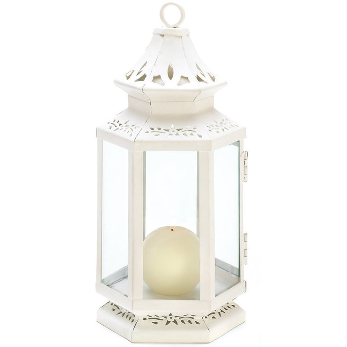 White Candle Lantern, Metal Candle Lanterns Decorative - Victorian-style