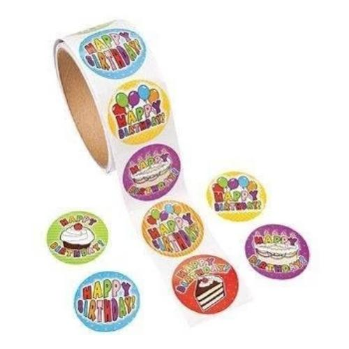 Birthday Stickers 1 Roll 100 Stickers