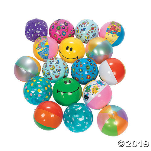 Inflatable Beach Ball Assortment (25 Pc)