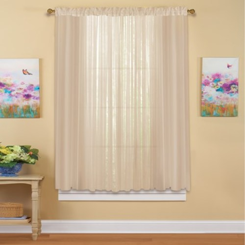"Decorative Sheer Curtain Panel, 59X 63"", Taupe"