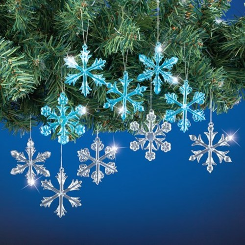 Blue and Silver Snowflake Christmas Ornaments
