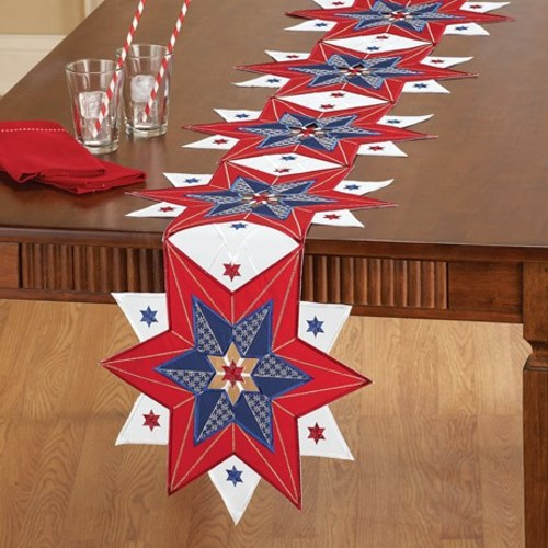 Embroidered Patriotic Rooster Table Linens,Runner