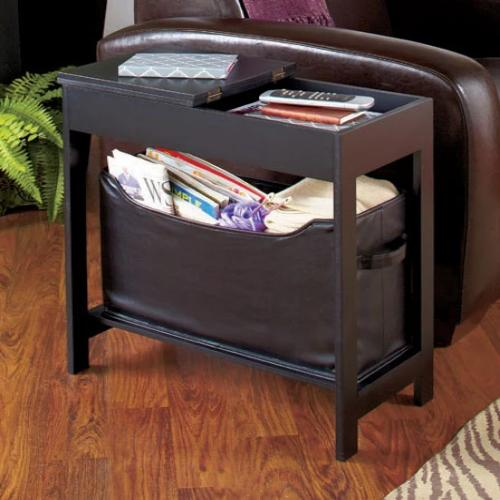 Side Storage Table with Bin-Black