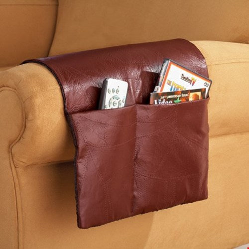 Patchwork Leather Armchair Storage Saver, Brown