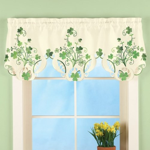 St. Patrick's Day Shamrock Embroidered Window Valance Decoration