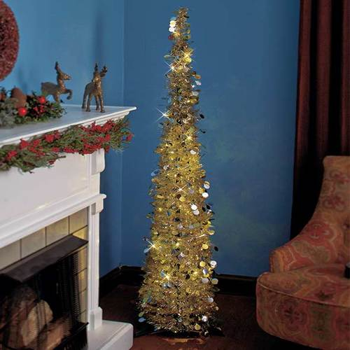 "Affordable, Collapsible 65"" Lighted Christmas Trees in Gold/Silver for Small Spaces with Timer"