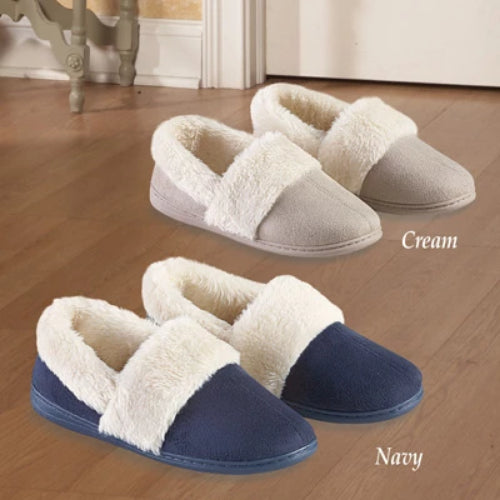 Plush Lining Faux Suede Skid-resistant Slippers ,Cream, 10