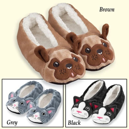 Fuzzy Animal Ballet Slippers, Grey, X-Large