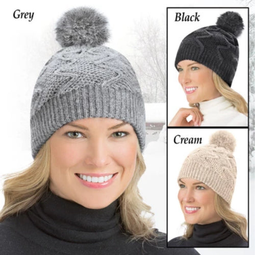 Pom Pom Soft Knit Winter Hat, Black