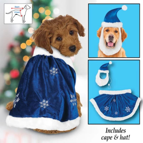 Christmas Velvet Winter Snowflake Dog Outfit, Large