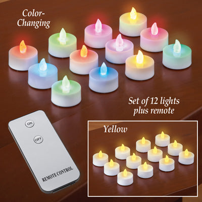 LED Tealight Candles with Remote - Set of 12,Yellow