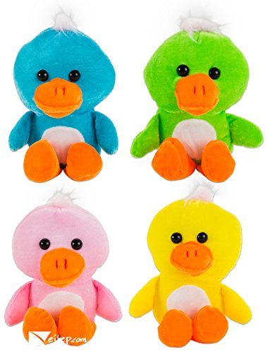 Lot Of 12 Assorted Bright Color Plush Stuffed Ducks