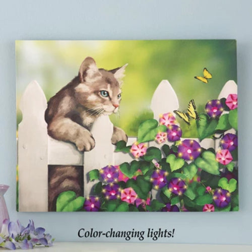 Lighted Cat on Fence Canvas