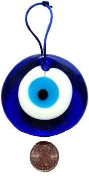 "Hanging Ornament Wind Chime Evil Eye Ward Off Negativity Glass 3"" Indoor Outdoor"