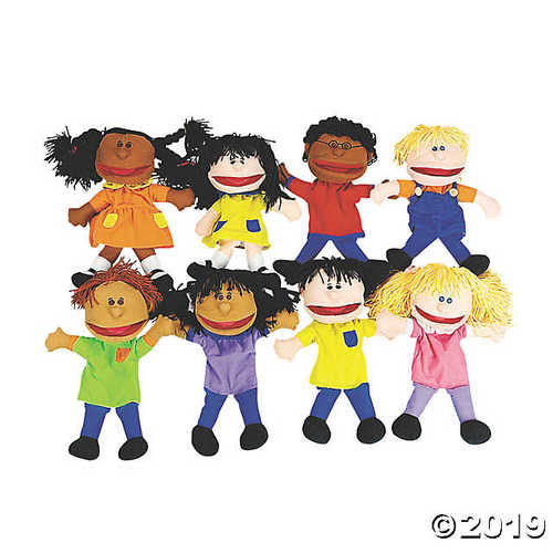 '- Plush Happy Kids Hand Puppets Multi-Ethnic Collection (1-Pack of 8)