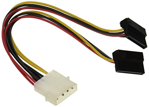 Monoprice 108796 8-Inch4-Pin Molex Male to Two 15-Pin SATA II Female with 90 degree Power Cable