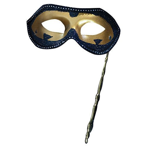 Black and Gold Masquerade Masks on a Stick
