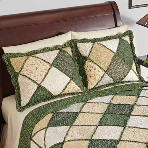 Claire Diamond Patchwork Pillow Sham with Fabric Bordered Patches