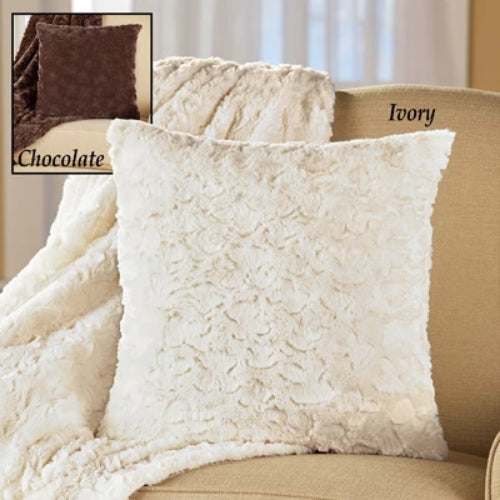 Elegant Faux Fur Throw Pillow Cover, 17 x 17 inches, Plush Swirls Design, Cozy Couch Pillow, Chocolate
