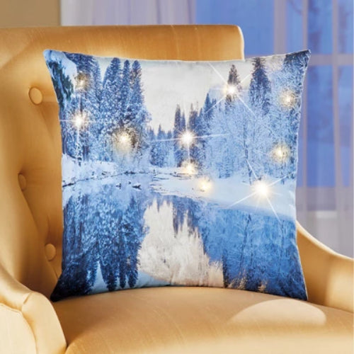 Lighted Blue Winter Lake Throw Pillow Cover - Living Room Holiday Accent