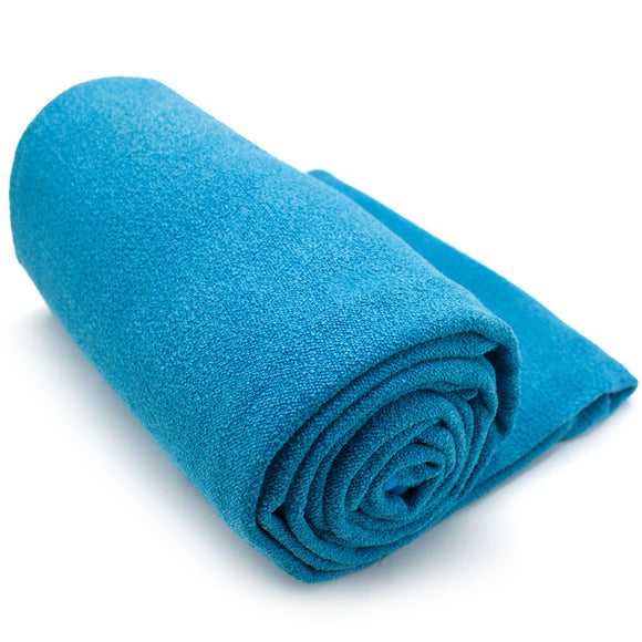 Blue Non-Slip Microfiber Hot Yoga Towel with Carry Bag