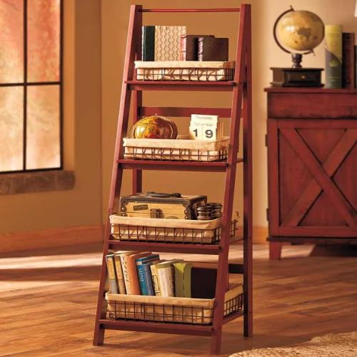 Ladder Shelf or Wire Baskets (Walnut)
