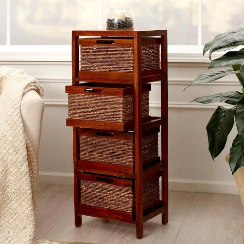 Rope Accent Storage Tower- Pecan