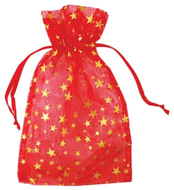 "4"" X 5"" Vibrant Red Sheer Organza Pouch Bag with Gold Stars"