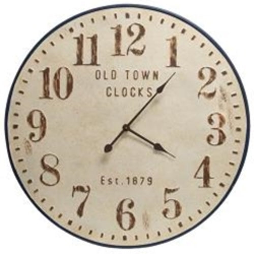 CWI Gifts Distressed Old Town Metal Clock