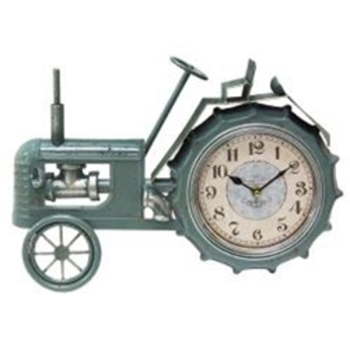 Primitive Collections Farmhouse tractor metal clock Hang or sit desktop