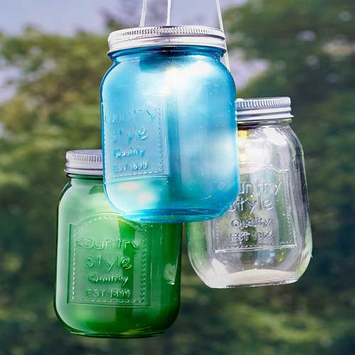 The  Set of 3 Large Solar Mason Jars Blue/Green/Clear