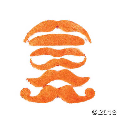12 Synthetic Mustache Assortment - Costume Moustache (Orange)