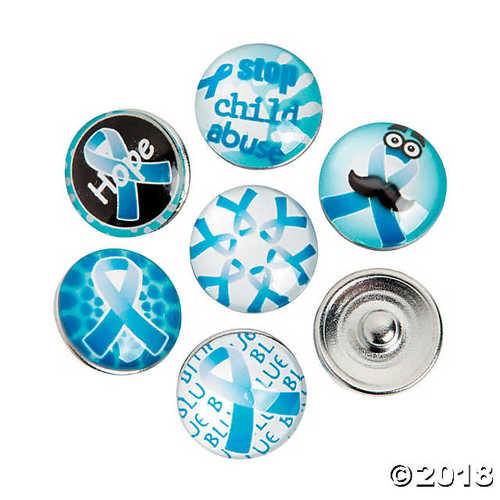 Large Blue Awareness Ribbon Snap Beads