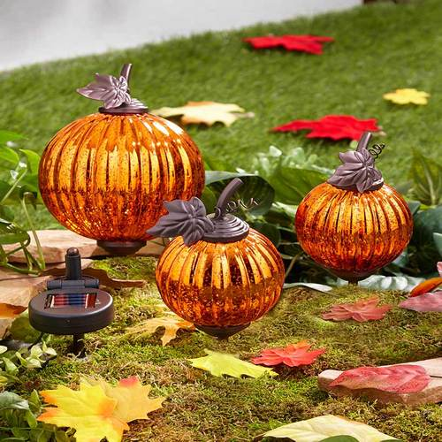 Set of 3 Solar Harvest Garden Pumpkins