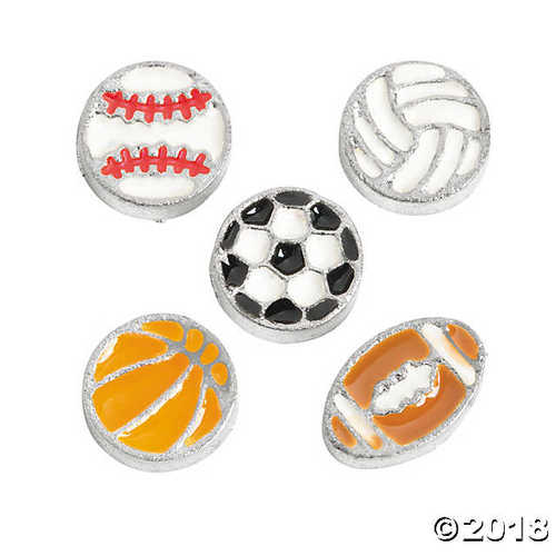 Silvertone Sport Ball Floating Charms