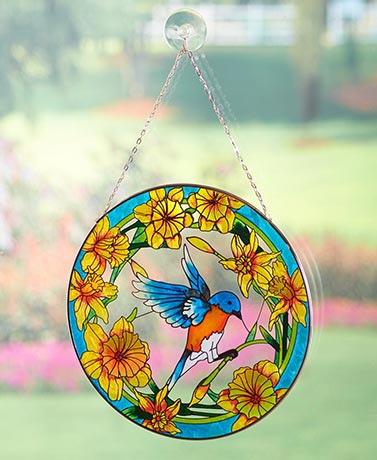 MattsGlobal Classic Painted Glass and Metal Sun Catchers (Hummingbird)