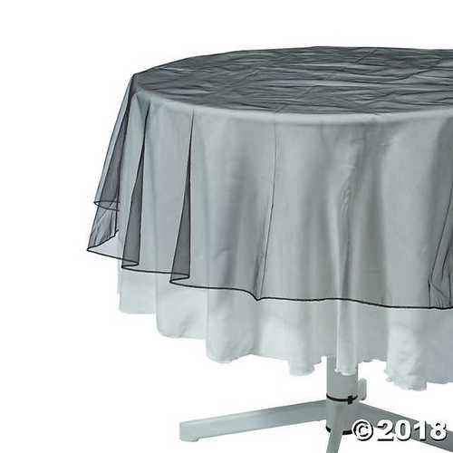 Black Organza Round Table Overlay
