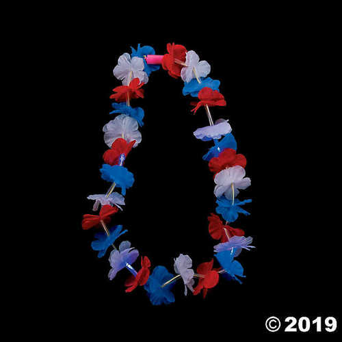 Patriotic Light Up Leis - 12 Pieces