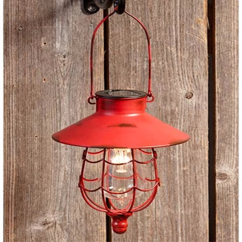 Rustic Style Distressed Look Solar Powered Hanging Metal Lanterns (Red)