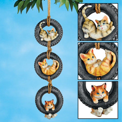 Swinging Cats in Tire Hanging Outdoor Decor