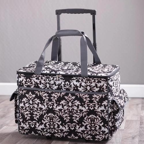 Rolling Sewing Machine Tote Damask