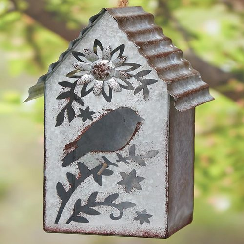 Galvanized Metal Birdhouse with Cutout Detail