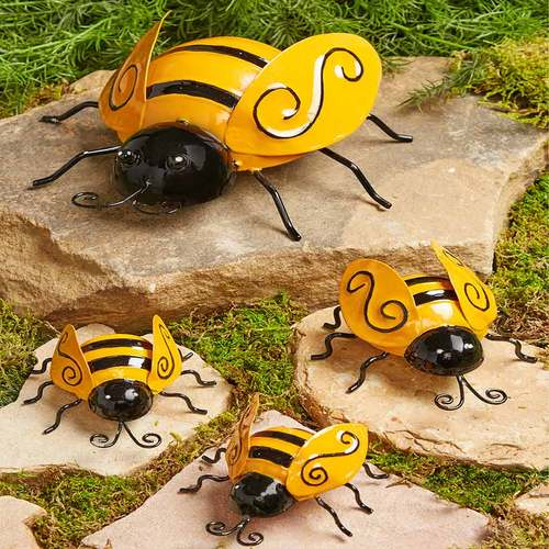Sets of 4 Metal Garden Bugs-G64-BEE