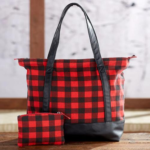 The  2-Pc. Monogram Buffalo Plaid Tote Set - Plain