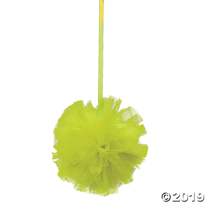 Lime Green Tulle Pom-Pom Decorations
